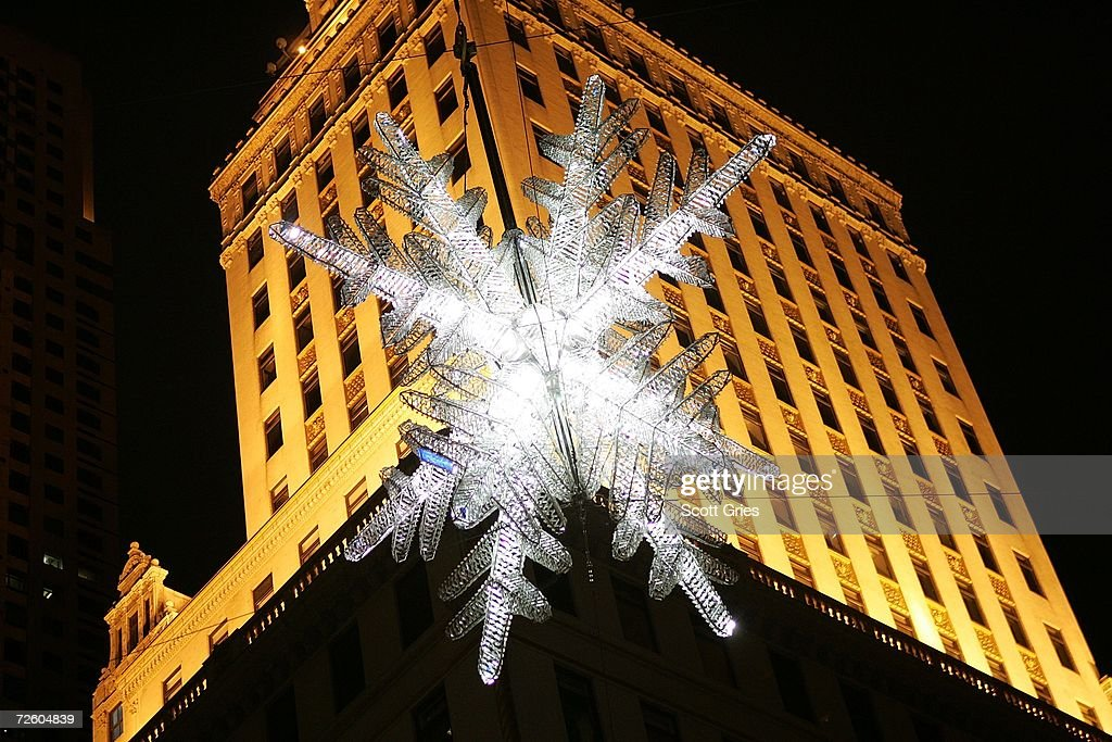 The UNICEF snowflake is seen hanging above the intersection of 57th Street and 5th Avenue on November 19, 2006 in New York City.