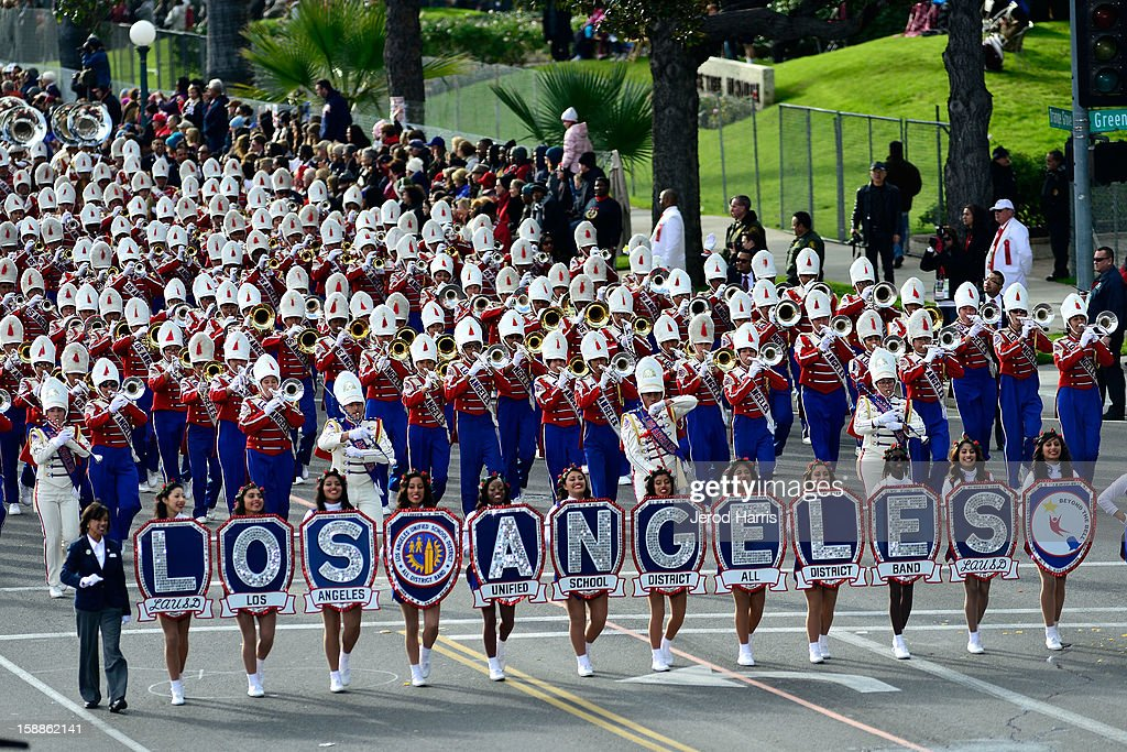 The LA Unified School District All District Band performs in the 124th annual Rose Parade themed 'Oh, the Places You'll Go!' on January 1, 2013 in Pasadena, California.