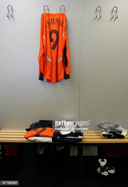 The uniform of Jens Lehmann is seen in the Locker room of the German National Team before the international friendly match between Germany and the...