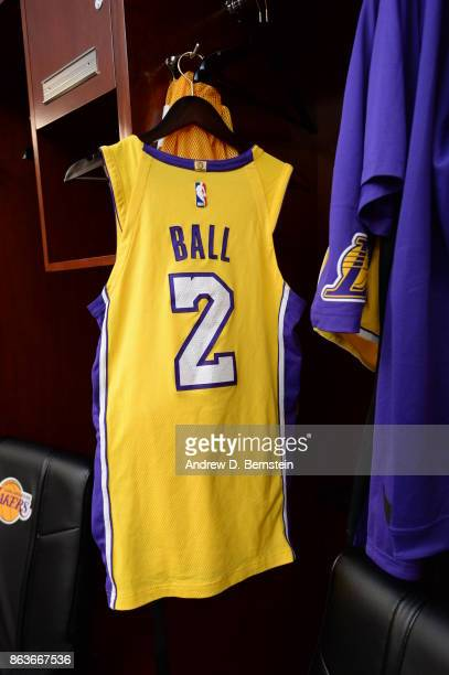 The uniform of Lonzo Ball of the Los Angeles Lakers before the game against the LA Clippers on October 19 2017 at STAPLES Center in Los Angeles...