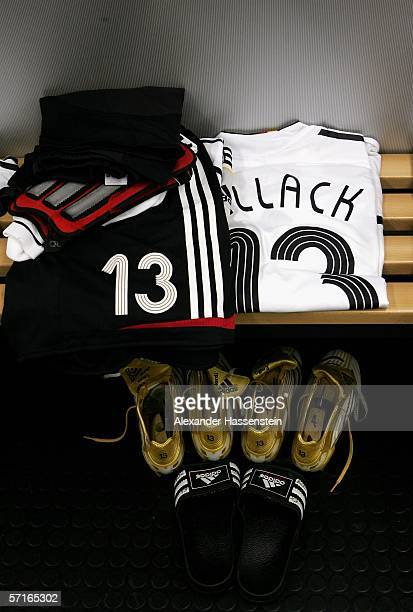 The uniform of Michael Ballack is seen in the Locker room of the German National Team before the international friendly match between Germany and the...