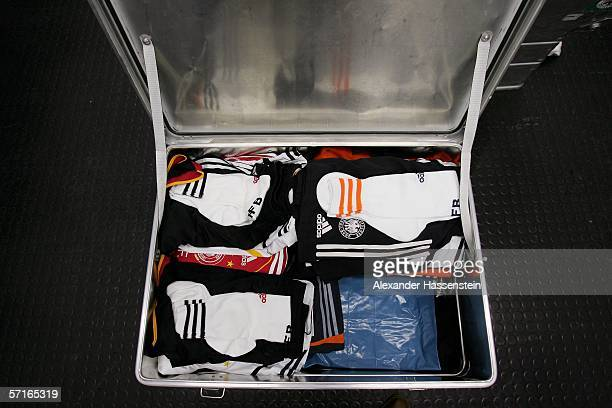 The uniform of Oliver Kahn is seen in the Locker room of the German National Team before the international friendly match between Germany and the USA...