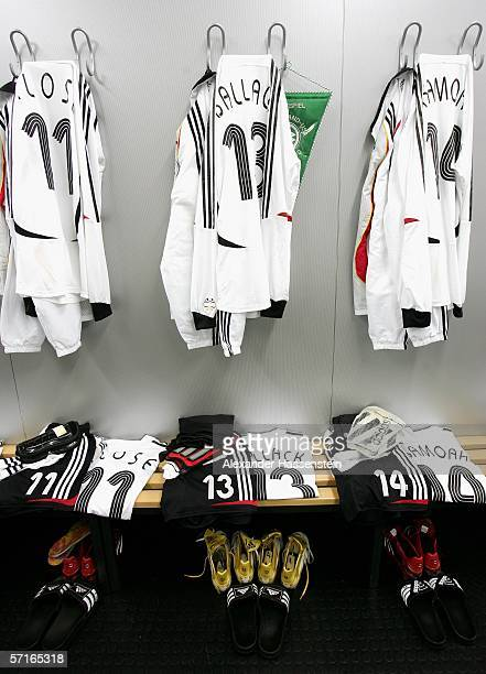 The uniforms of the German National Team Players is seen in the Locker room before the international friendly match between Germany and the USA at...