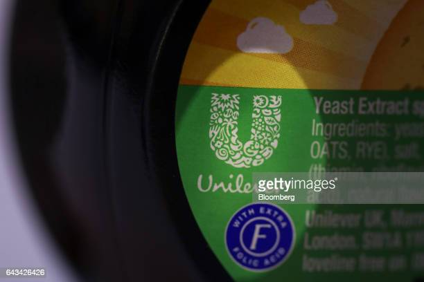The Unilever NV logo sits on a a jar of Marmite manufactured by Unilever NV in this arranged photograph in London UK on Tuesday Feb 21 2017 On Sunday...