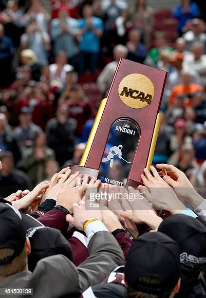 The Union College Dutchmen celebrate with the trophy after the win over the Minnesota Golden Gophers during the 2014 NCAA Division I Men's Hockey...