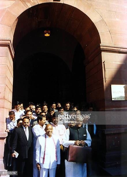 The Union Finance Minister Yashwant Sinha With Senior Government Officials His Budget Proposal To The Indian Parliament In New Delhi On February...