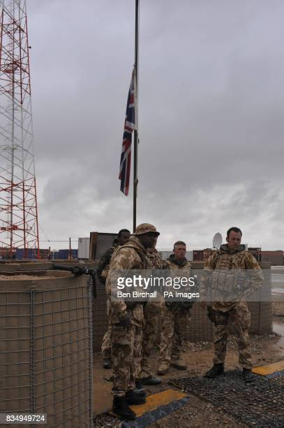 The Union Flag at half mast on Camp Bastion Afghanistan to mark the death of a British serviceman yesterday
