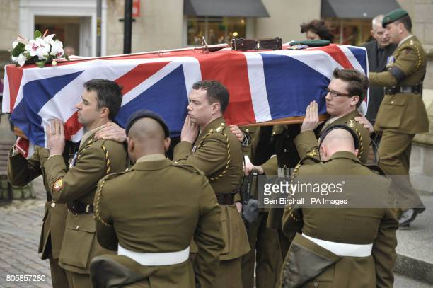 The Union flag draped coffin of Captain Daniel Read of 11 Explosive Ordnance Disposal Regiment Royal Logistic Corps is carried with full honours from...
