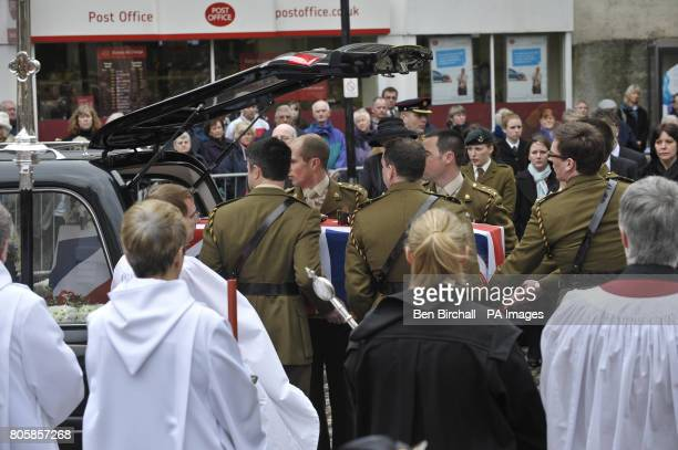 The Union flag draped coffin of Captain Daniel Read of 11 Explosive Ordnance Disposal Regiment Royal Logistic Corps whose funeral was held at Truo...
