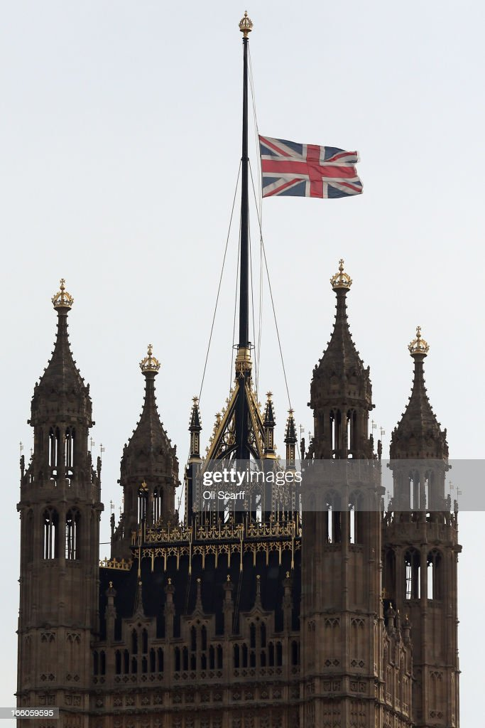 The union flag flies above the Houses of Parliament at half-mast to mark the death of former British Prime Minster Baroness Thatcher on April 8, 2013 in London, England. It has been confirmed that Lady Thatcher has died this morning following a stroke aged 87. Margaret Thatcher was the first female British Prime Minster and governed the UK from 1979 to 1990. She led the UK through some turbulent years and contentious issues including the Falklands War, the miner's strike and the Poll Tax riots.