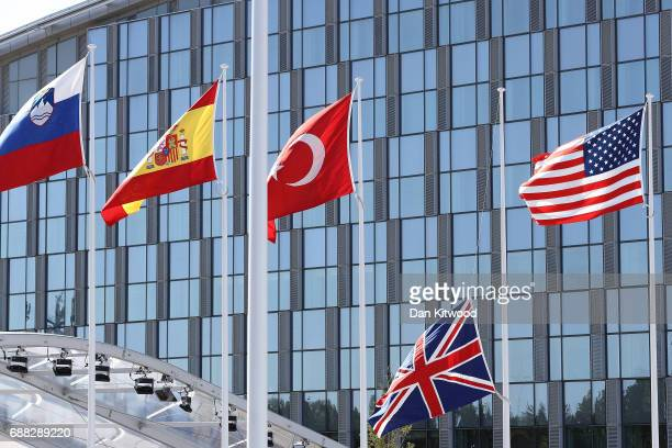 The Union Flag flies at half mast during the NATA Summit Opening ceremony on May 25 2017 in Brussels Belgium The North Atlantic Treaty Organisation...