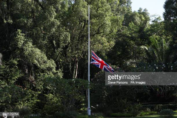 The Union flag flies at half mast outside Eden Hall the British High Commissioner's official residence in Singapore following the London terror attack