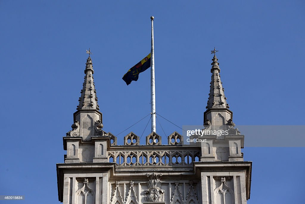 The Union Flag flies at half mast over Westminster Abbey following the death of King Abdullah of Saudi Arabia on January 23 2015 in London United...