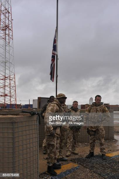 The Union Flag flys at half mast on Camp Bastion Afghanistan to mark the death of a British serviceman yesterday