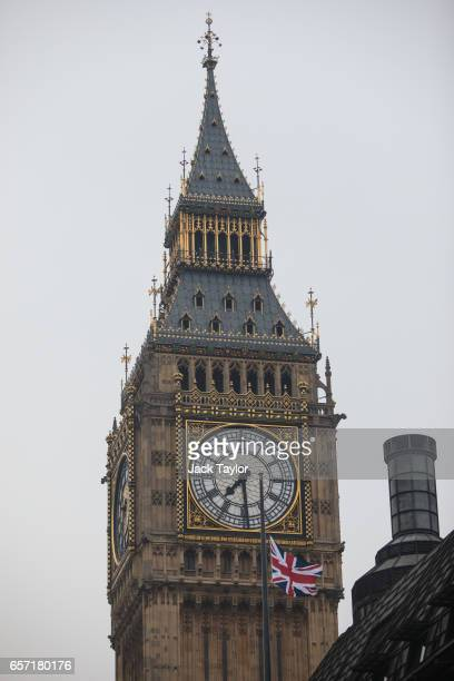 The Union Jack flag flies at half mast in front of the Elizabeth Tower commonly known as Big Ben following Wednesday's attack on Westminster on March...