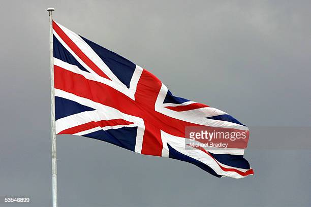 The Union Jack flag flies high above the base for the GBR challenge for the 2003 Americas Cup at their base at the Americas Cup Village