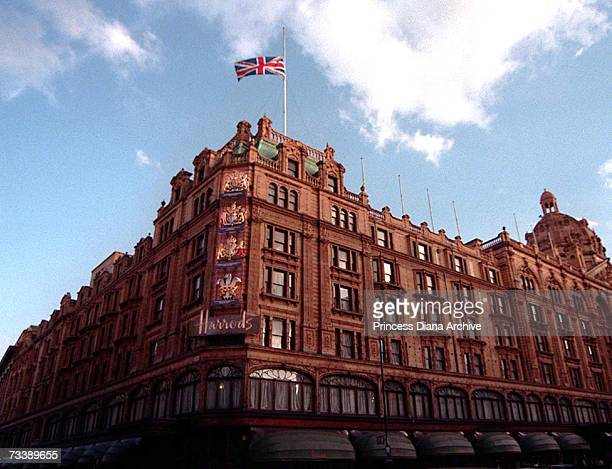The Union Jack flag flying at half mast over the Harrods store in London after the death of the owner's son Dodi Al Fayed and Princess Diana 31st...