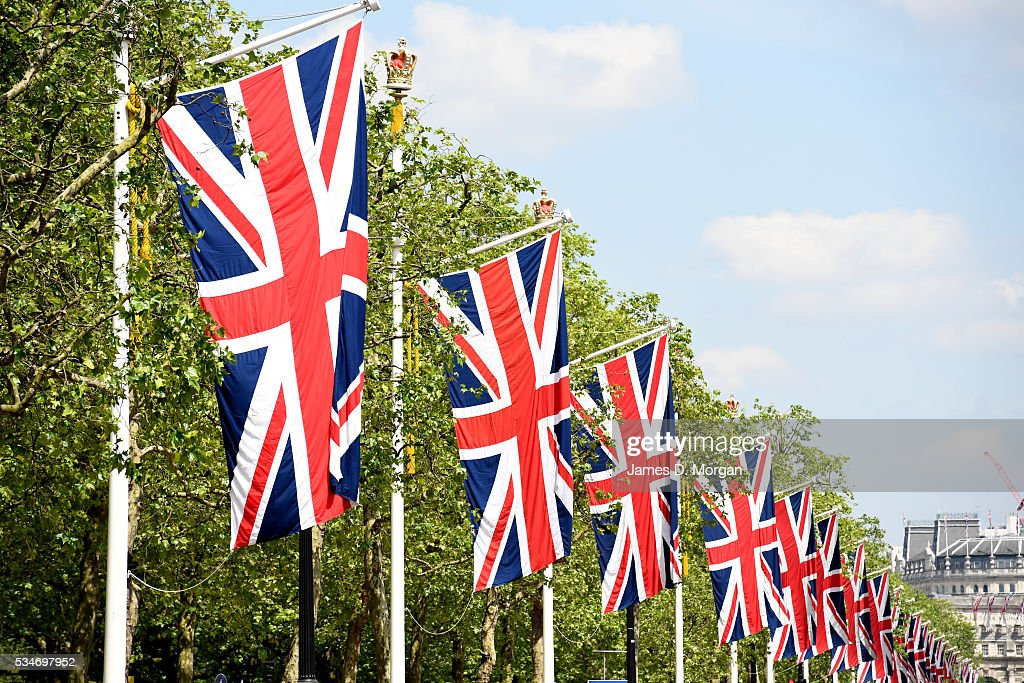 The Union Jack flags wave on the Mall ahead of the Bank Holiday weekend on May 27, 2016 in London, England. The weather today in London was warm and sunny with high temperatures expected to continue for the weekend.
