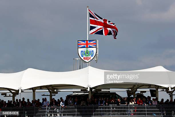 The Union Jack flies on top of the BRDC grandstand during the Formula One Grand Prix of Great Britain at Silverstone on July 10 2016 in Northampton...