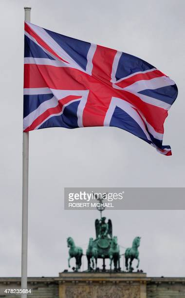 The Union Jack flys in front of the Brandenburg Gate in Berlin as Britain's Queen Elizabeth II and her husband Prince Philip The Duke of Edinburgh...
