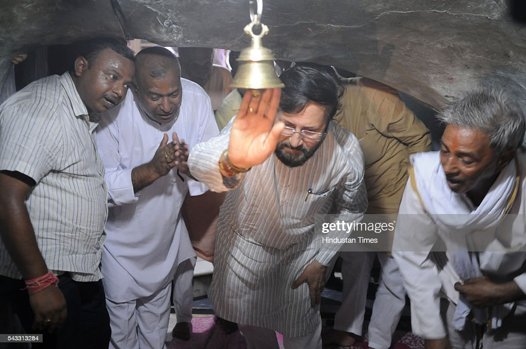 The Union minister for environment, forest and climate Prakash Javadekar at Jhirka temple on June 27, 2016 in Gurgaon, India. Prakash Javadekar conducted an aerial survey of the forest cover in Gurgaon and Mewat districts of Haryana, with a view to understand the Aravallis range. The minister said that a new policy will be framed to protect ecologically sensitive Aravallis taking into accounts all the previous judgments related to the issue.
