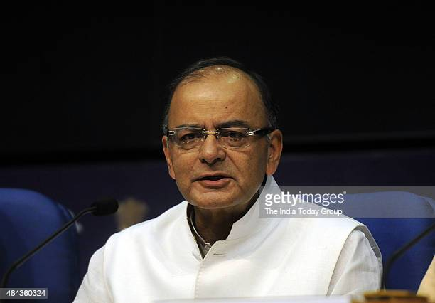 The Union Minister for Finance Corporate Affairs and Information and Broadcasting Arun Jaitley addressing a press conference in New Delhi