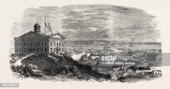 Omaha Nebraska Eastern Terminus Of The Railway Viewed From The Capitol United States Of America 1869