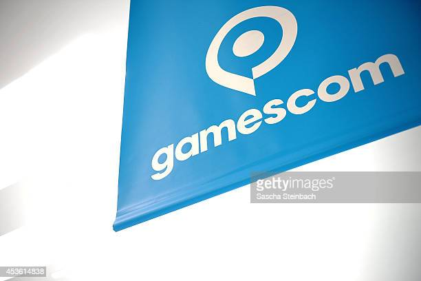 The unique Gamescom logo is seen on the corridor at the 2014 Gamescom gaming trade fair on August 14 2014 in Cologne Germany Gamescom is the world's...