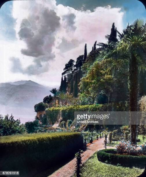 The unique park scenery with exotic plants surrounds the Villa Serbelloni situated above Bellagio on the Lake Como in Northern Italy