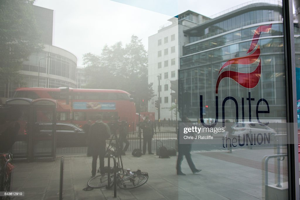 The Unite Union headquarters where today union leaders met to discuss their positions on the Labour party and its leader Jeremy Corbyn on June 29, 2016 in London, England. Several MP's and industry leaders have called for the resignation of Mr Corbyn after many of shadow cabinet members resigned in the wake of the EU referendum result.