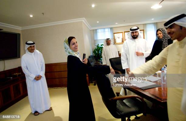 The United Arab Emirates' Minister of Economics Sheikha Lubna Khalid Al Qasimi arrives at the weekly committee meeting to discuss new business...
