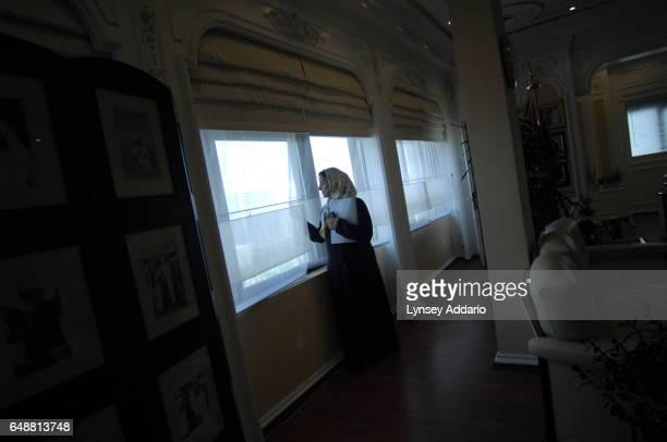 The United Arab Emirates' Minister of Economics Sheikha Lubna Khalid Al Qasimi stands next to her window in Abu Dhabi United Arab Emirates on Nov 13...