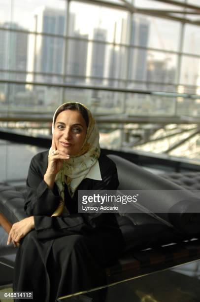 The United Arab Emirates' Minister of Economics Sheikha Lubna Khalid Al Qasimi is seen inside her office building in Abu Dhabi United Arab Emirates...