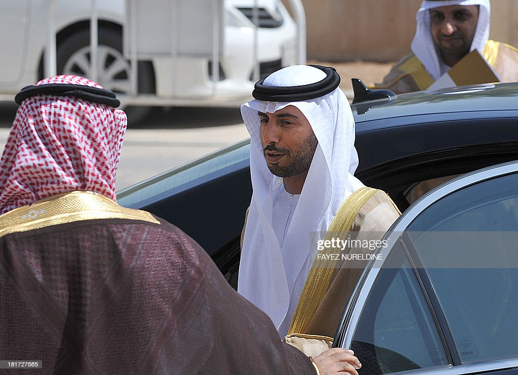 The United Arab Emirate's Oil and Energy Minister Suhail al-Mazrouie (C) arrives to attend the 32nd ordinary meeting of the Oil Ministers of Gulf Cooperation Council (GCC) for the Gulf states held in the Saudi capital of Riyadh, on September 24, 2013.