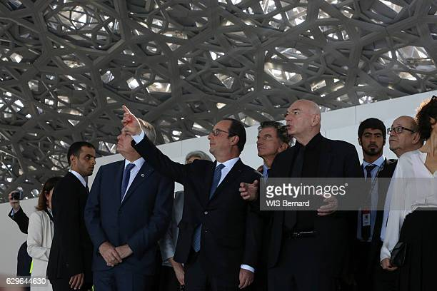 the United Arab Emirates on December 3 2016 the president visiting the construction site of the Louvre museum of Abu Dhabi designed by Jean Nouvel on...