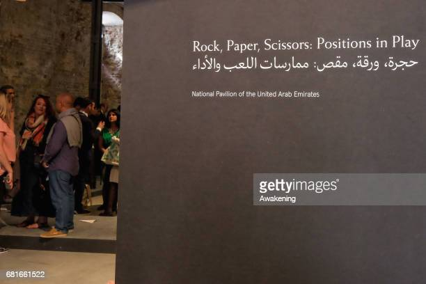 The United Arab Emirates pavilion presenting 'Rock Paper Scissors Positions in Play' of Nujoom Alghanem Sara Al Haddad Vikram Divecha Lantian Xie...