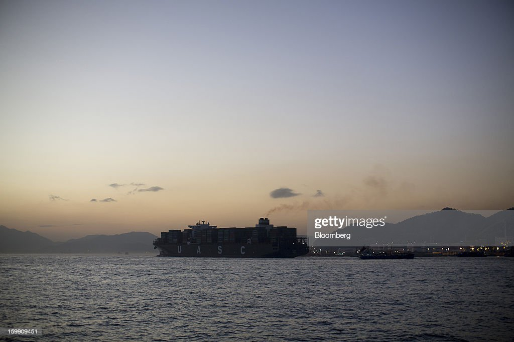 The United Arab Shipping Co. SAG (UASC) Al Riffa container ship sails out of the Kwai Tsing Container Terminals in Hong Kong, China, on Monday, Jan. 21, 2013. Hong Kong is scheduled to release export figures for December on Jan. 24. Photographer: Jerome Favre/Bloomberg via Getty Images