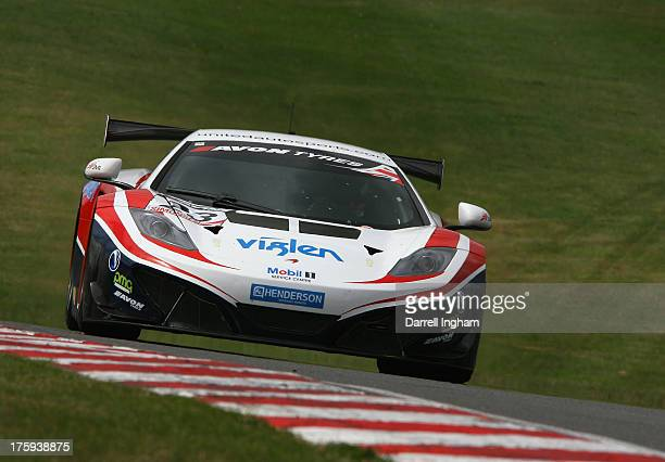 The United Autosports McLaren MP412C driven by Zak Brown and Alvaro Parente during practice for the Avon Tyres British GT Championship race at the...