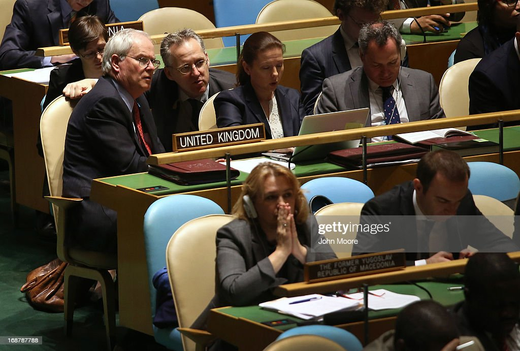 The United Kingdom's delegation listens ahead of a vote at the United Nations calling for a political transition in Syria on May 15, 2013 in New York City. The 193-member UN General Assembly was to vote on an Arab-backed resolution condemning the regime of Syrian President Bashar Assad for human rights abuses and its escalating use of heavy weapons in the country's civil war.