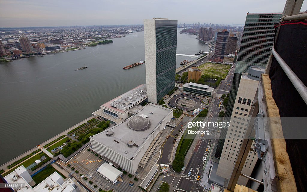 The United Nations building is seen from the 34th floor at 50 UN Plaza in New York, U.S., on Thursday, July 11, 2013. Located across the street from the United Nations, 50 UN Plaza, Arthur and William Lie Zeckendorf's latest Manhattan luxury-condominium project is a 44-story tower that will be the Turtle Bay neighborhood's first new residential project in a dozen years. Photographer: Jin Lee/Bloomberg via Getty Images