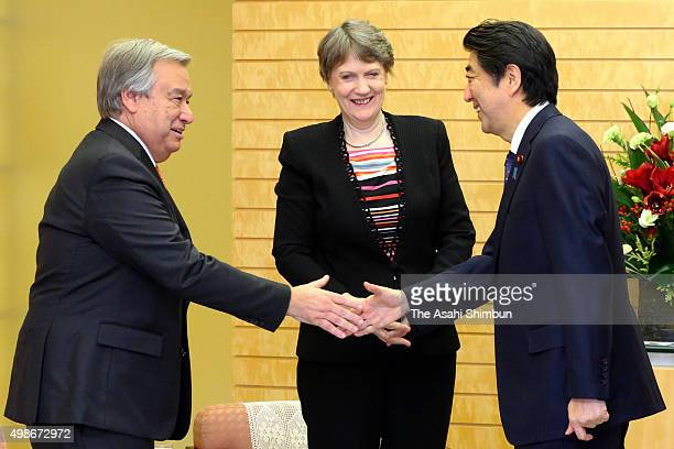 The United Nations Development Programme Administrator Helen Clark and the United Nations High Commissioner For Refugees Antonio Guterres greet...