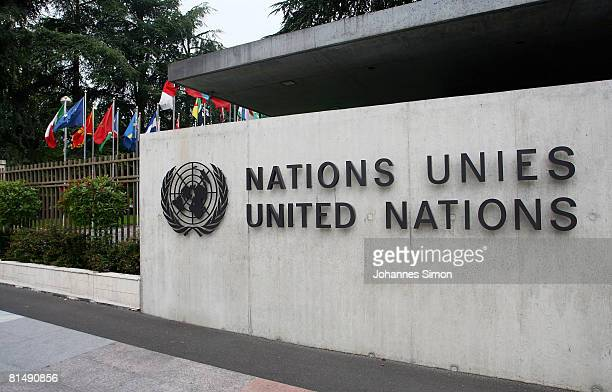 The United Nations emblem is seen in front of the United Nations Office on June 8 2008 in Geneva Switzerland Housed at the Palais des Nations the...
