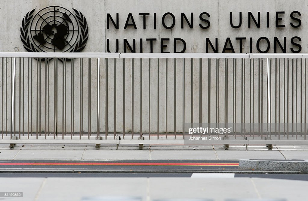 The United Nations emblem is seen in front of the United Nations Office (UNOG) on June 8, 2008 in Geneva, Switzerland. Housed at the Palais des Nations, the United Nations Office at Geneva serves as the representative office of the Secretary-General at Geneva. A focal point for multilateral diplomacy, UNOG services more than 8,000 meetings every year, making it one of the busiest conference centres in the world. With more than 1,600 staff, it is the biggest duty stations outside of United Nations headquarters in New York.
