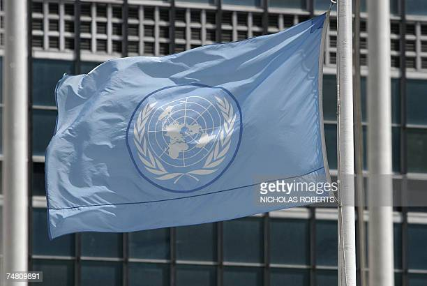 The United Nations flag flies at halfstaff at UN headquarters in New York 15 June 2007 AFP PHOTO/Nicholas ROBERTS