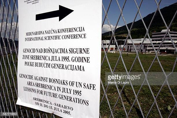 SREBRENICA BOSNIA HERZEGOVINA JULY 10 The United Nations former 1995 Dutch base is seen in front of the Srebrenica Memorial site July 10 2005 in...
