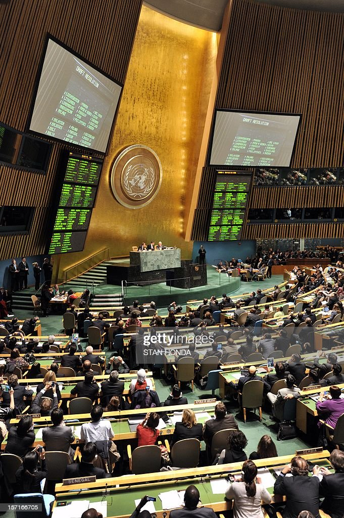 The United Nations General Assembly chamber during a vote on a resolution to upgrade the status of the Palestinian Authority to a nonmember observer state November 29, 2012 at UN headquarters in New York. AFP PHOTO/Stan HONDA