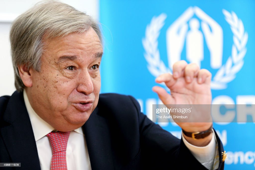 The United Nations High Commissioner For Refugees <a gi-track='captionPersonalityLinkClicked' href=/galleries/search?phrase=Antonio+Guterres&family=editorial&specificpeople=553912 ng-click='$event.stopPropagation()'>Antonio Guterres</a> speaks during the Asahi Shimbun interview on November 26, 2015 in Tokyo, Japan.