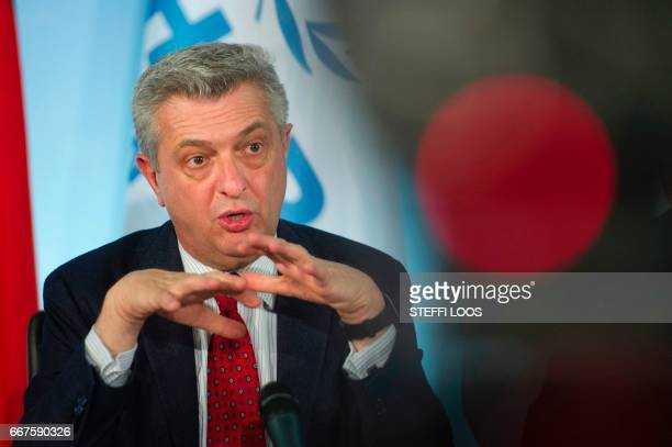 The United Nations' High Commissioner for Refugees Filippo Grandi speaks during a news conference to launch the 'Humanitarian appeal of Berlin...