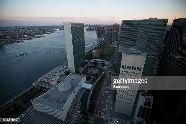 The United Nations left and the US Permanent Mission to the UN right are seen from the 50 United Nations Plaza building in New York US on Tuesday...