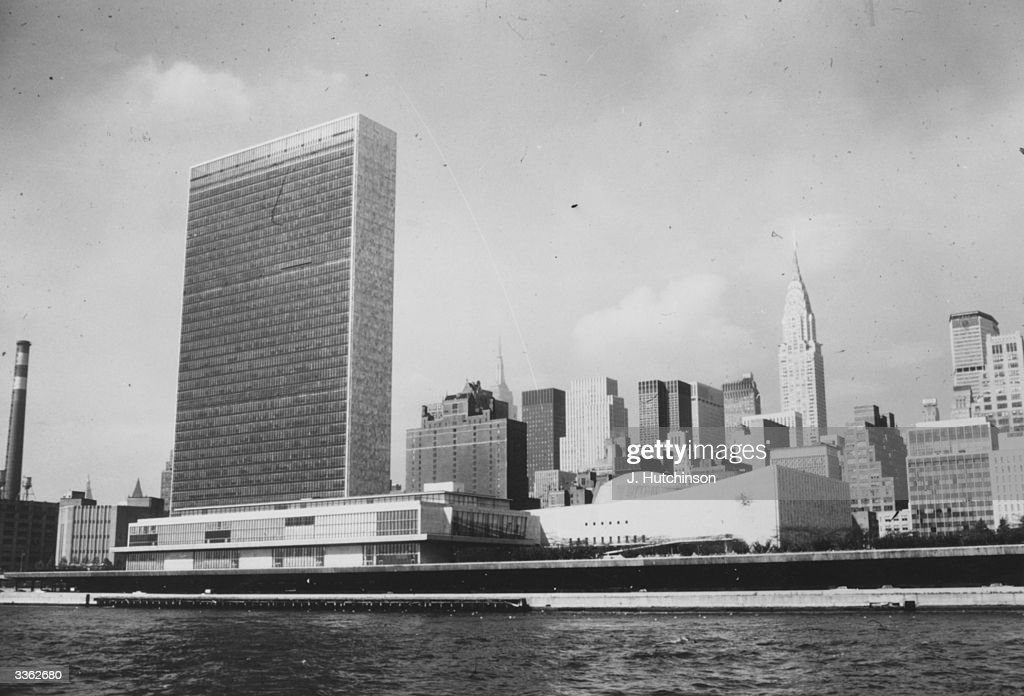 The United Nations Organisation headquarters in New York the Chrysler building is to the right